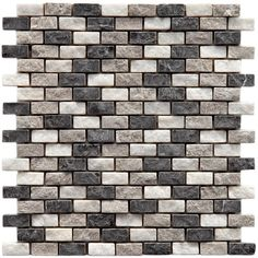 Merola Tile Griselda Subway Charcoal 11-1/2 in. x 12 in. x 9 mm Natural Stone Mosaic Tile, Grey/Low Sheen