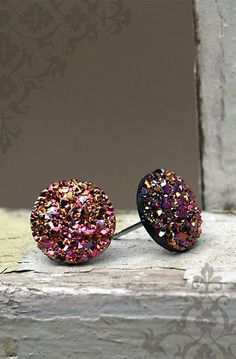Pink and Gold Glitter Earrings, 12mm Faux Druzy with Stainless Steel Posts
