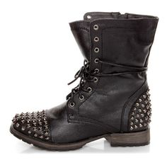 Georgia 28 Black Studded Lace-Up Combat Boots ($100) ❤ liked on Polyvore featuring shoes, boots, botas, combat booties, black boots, leather lace up boots, combat boots and army boots