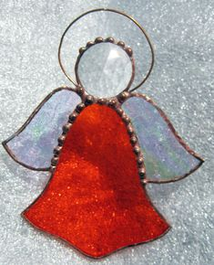Stained Glass Orange Angel Suncatcher by JuliaLouiseShop on Etsy, $12.00