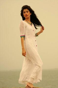 White kurta, linen, cotton, simple - syra yousuf