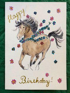Happy Birthday Horse, Happy Birthday Animals, Gold Birthday, Homemade Birthday Cards, Funny Birthday Cards, Birthday Greeting Cards, Happy Birthday Illustration, Horse Cards, Watercolor Horse