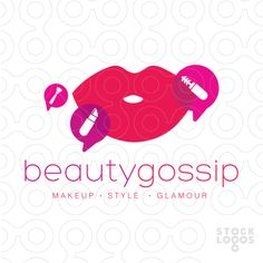 Logo for sale: Sleek, clean and modern design that combines women's lips and speech icon bubbles to represent beauty and gossip talk.