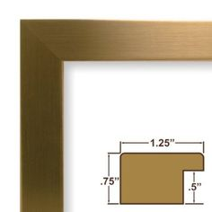 """03x13 Custom Picture Frame / Poster Frame 1.25"""" Wide Complete Champagne Stainless Frame (26963). This frame is manufactured in the USA, using the best materials and tools available. Our frames smaller than 12x18 inches are carefully assembled with glass facing and a durable backing with two machine-cut,  low profile wall hangers for both horizontal and vertical hanging."""