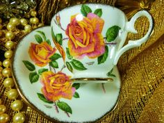 QUEEN ANNE TEA CUP AND SAUCER WHITE WITH PEACH ROSES ~SUTTERS GOLD~ SIGNED GOLD #WAISTED #QUEENANNE