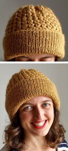 Free Knitting Pattern For A Beginner Beanie Art Pinterest