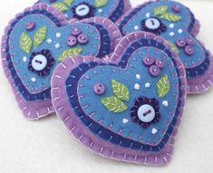 Felt heart ornament felt Christmas ornament floral felt