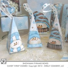 Printable Treat Boxes - Snowman pyramid boxes by Shelly Comiskey.  Do it yourself Winter and Chocolate Theme Gift Baskets -Gina Jane Designs - DAISIE Company