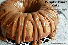 Pumpkin Bundt Cake with Caramel Drizzle | My Biscuits are Burning