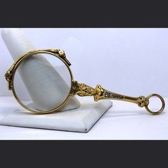0b425d5d1a 14K Gold and Diamond Lorgnette Opera Glasses from JM PIerce Exclusively on  Ruby Lane Loupe,