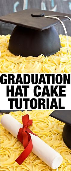 Learn how to make GRADUATION HAT CAKE. This easy graduation cap cake tutorial includes step by step instructions. Great for graduation parties. From cakewhiz.com
