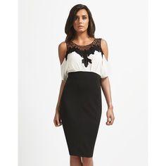 Lipsy Cold Shoulder Dress ($84) ❤ liked on Polyvore featuring dresses, vneck dress, lace panel dress, white cold shoulder dress, white v neck dress and evening wear dresses