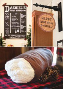 wood log party decor and chalkboard first year sign