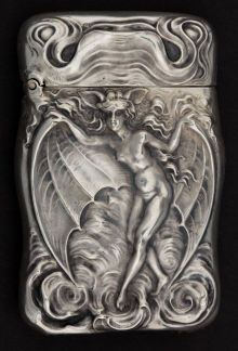 Silver Smalls:Match Safes, AN UNGER BROTHERS SILVER BAT WOMAN MATCH SAFE . Unger Bros.,Newark, New Jersey, circa 1905. Marks: (UB intertwine...