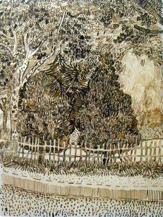 Public Garden with Fence - Vincent van Gogh . Created in Arles in April - late in month, Located at Van Gogh Museum Vincent Van Gogh, Van Gogh Drawings, Van Gogh Paintings, Van Gogh Art, Art Van, Landscape Sketch, Landscape Drawings, Desenhos Van Gogh, Van Gogh Pinturas
