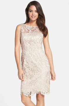 Adrianna Papell Illusion Bodice Lace Sheath Dress available at #Nordstrom - in Navy! Bridesmaid option