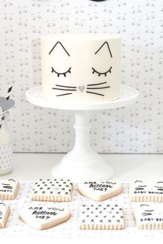 Ideas Baby Shower Cake Simple Kids For 2019 Baby Shower Cakes, Baby Shower Parties, Baby Shower Themes, Baby Shower Decorations, Birthday Goals, Cat Birthday, Birthday Parties, Kitten Party, Cat Party