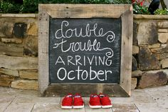 Twin announcement on chalkboard... Hopefully never for twins though!