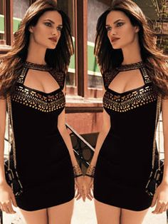 Euro American Sexy Black Backless Patch Work Long Sleeve Bodycon Dress
