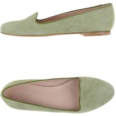 Altiebassi Ballet Flats ($152) ❤ liked on Polyvore featuring shoes, flats, light green, skimmer flats, round cap, leather ballet flats, flat shoes and ballet flats
