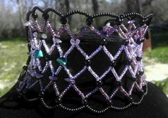Amethyst Purple and Black Deluxe Kandy Cuff by ShiningStarStudio, $30.00