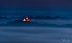 Shining in the dawn - Church in Benedikt, Slovenia, shining at autumn dawn