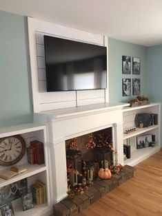 Most current Cost-Free fake Fireplace Remodel Tips Faux Shiplap Fireplace and Custom Shelves Faux Fireplace Mantels, Fireplace Bookshelves, Fireplace Built Ins, Shiplap Fireplace, Faux Shiplap, White Fireplace, Rustic Fireplaces, Farmhouse Fireplace, Fireplace Hearth