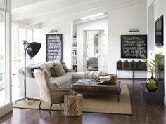Love this California casual traditional mix with contemporary living room