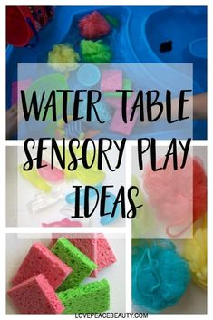 Water table sensory ideas A water table provide so many opportunities for kids! Here's how we are integrating learning and sensory play with our water table. Sensory Activities For Preschoolers, Sensory Games, Sensory Table, Baby Sensory, Sensory Bins, Infant Activities, Family Activities, Summer Activities, Indoor Activities