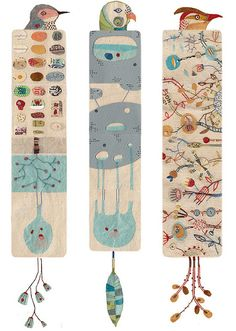 Bookmarks - IDEA ~ Use kids heads for top, poem or name for rectangle, tassels or feet for bottom
