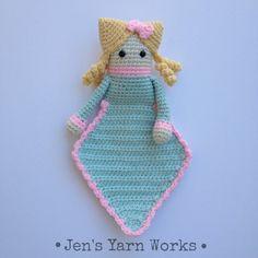 Crochet amigurumi doll lovey security blanket by jensyarnworks, $20.00