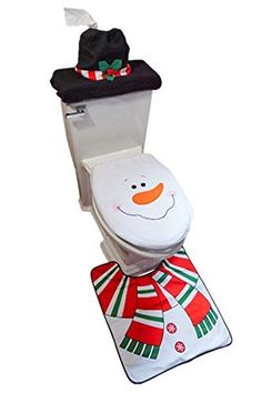 christmas snowman - D-FantiX Snowman Santa Toilet Seat Cover and Rug Set Red Christmas Decorations Bathroom *** Information can be located by clicking on the photo. (This is an affiliate link). Christmas Crochet Patterns, Christmas Fabric, Christmas Colors, Red Christmas, Amazon Christmas, Christmas Decorations Clearance, Holiday Decorations, Christmas Bathroom Decor, Primitive Bathrooms