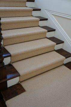 Modern Runner Carpet Decor Ideas For Stairs - Wood Stairs, House Stairs, Carpet Stairs, Wall Carpet, Rugs On Carpet, Grey Carpet, Carpets, Entry Stairs, Basement Stairs