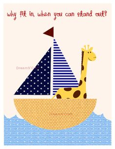 Giraffe Nursery Row Your Boat Personalized by DreamAndCraft, $18.00