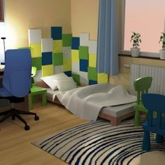 Wizualizacja. Panele pixel w pokoju dziecięcym. Projekt Modernika.