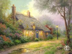 "Moonlight Cottage - 2001                                      	                                                            In ""Moonlight Cottage,"" I celebrate the enchanting moment when the moon begins to appear above a sheltered cottage set within a forest. Beholding this scene as the sounds of the forest envelope you and the moist fragrance of evening fills your lungs would be a transcendent moment. I cannot imagine a more peaceful experience.   -- Thomas Kinkade"