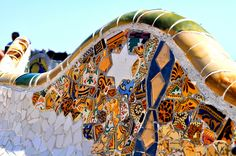 Curvy seats at Park Guell    EM - Style Blog-Style, in my Way: Gaudi, multicolored mosaic & flower geometrical prints in clothes