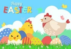 Fun Happy Easter Background Vector