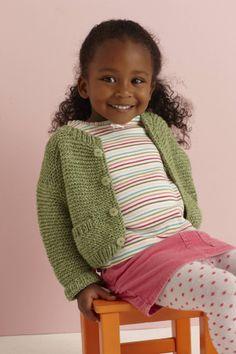 Free Knitting Pattern 80947AD Soft Green Baby Cardigan : Lion Brand Yarn Company