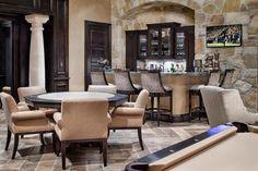 Tuscan Transitional - mediterranean - Home Bar - Houston - JAUREGUI Architecture Interiors Construction