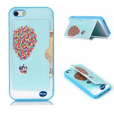 iPhone 5S Case,Nancy's shop Premium Ultra Slim PU Leather Stand Feature Series Hybrid Bumper SOFT-Interior Scratch Protection Hard Built-in Credit Card ID Holders Pockets protective Cover (Balloon)