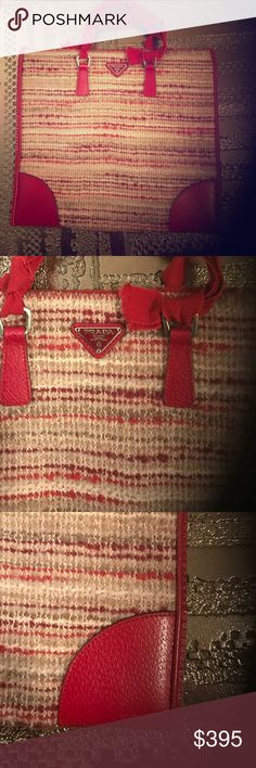 PRADA BAG Fabric & trimmed in red leather - Ribbon handles. Excellent condition / no marks. Authentic Prada Bags