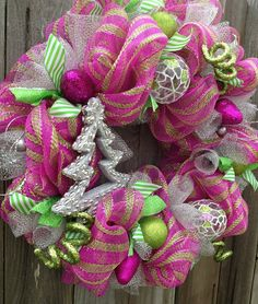 Stunning Pink & Green Deco Mesh Christmas Wreath by BaBamWreaths on Etsy, $87.00