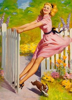 Swinging Into Summer - Art Frahm pin-up girl Pin Up Vintage, Vintage Art, Vintage Ladies, Vintage Drawing, 50s Vintage, Rolf Armstrong, Pinup Art, Gil Elvgren, Pin Up Girls