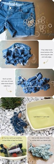 Tie dye bleached shorts... DIY