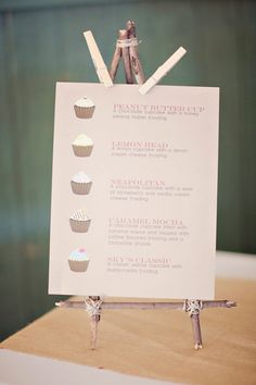 Maybe the solution to having some GF, some vegan, etc. An illustrated cupcake menu board so guests can pick their favorite flavor Vegan Wedding Cake, Wedding Cupcakes, Wedding Desserts, Farm Wedding, Wedding Blog, Dream Wedding, Wedding Ideas, Wedding Reception, Reception Ideas