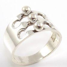 Vintage Erik Granit Sterling Silver Modernist Bead Ball Band Ring Size 7.5