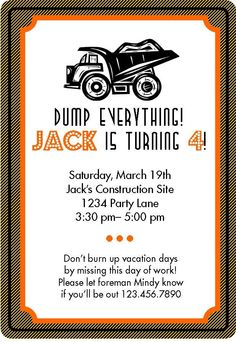 Construction Party Invitation and Envelope Insert DIY Printable (customizable)