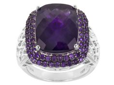 12.55ctw Rectangular Cushion, Checkerboard Cut And Round African Amethyst Sterling Silver Ring