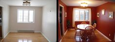 This before and after shot of an empty house vs. a staged house highlights just how important staging your house for buyers can be.